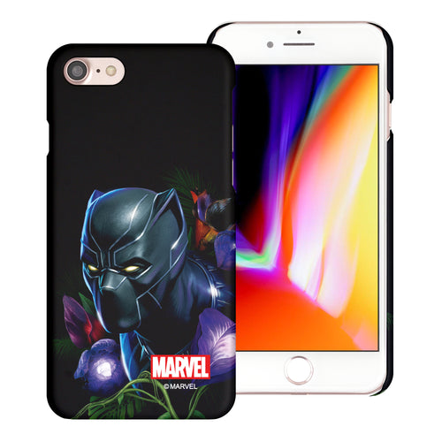 iPhone 8 Plus / iPhone 7 Plus Case Marvel Avengers [Slim Fit] Thin Hard Matte Surface Excellent Grip Cover - Black Panther Face Black