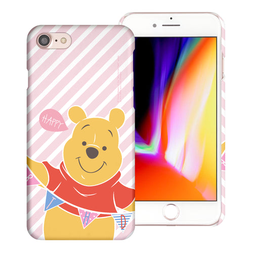 iPhone SE 2020 / iPhone 8 / iPhone 7 Case (4.7inch) [Slim Fit] Disney Pooh Thin Hard Matte Surface Excellent Grip Cover - Stripe Pooh Happy