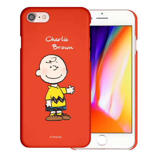 iPhone 6S / iPhone 6 Case (4.7inch) [Slim Fit] PEANUTS Thin Hard Matte Surface Excellent Grip Cover - Charlie Brown Stand Red