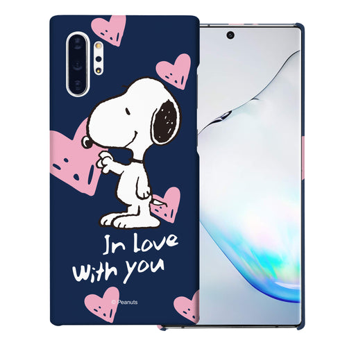 Galaxy Note10 Plus Case (6.8inch) [Slim Fit] PEANUTS Thin Hard Matte Surface Excellent Grip Cover - Snoopy In Love Navy