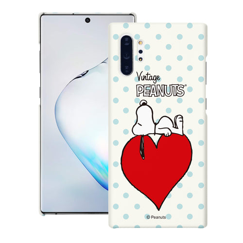 Galaxy Note10 Plus Case (6.8inch) [Slim Fit] PEANUTS Thin Hard Matte Surface Excellent Grip Cover - Smack Snoopy Heart