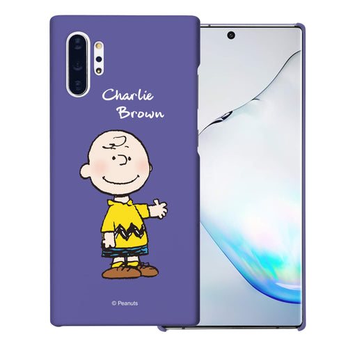 Galaxy Note10 Plus Case (6.8inch) [Slim Fit] PEANUTS Thin Hard Matte Surface Excellent Grip Cover - Charlie Brown Stand Purple