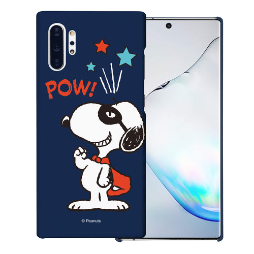 Galaxy Note10 Plus Case (6.8inch) [Slim Fit] PEANUTS Thin Hard Matte Surface Excellent Grip Cover - Snoopy Pow Navy