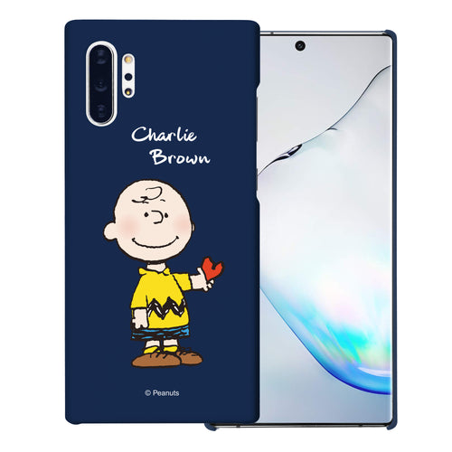 Galaxy Note10 Plus Case (6.8inch) [Slim Fit] PEANUTS Thin Hard Matte Surface Excellent Grip Cover - Charlie Brown Stand Navy