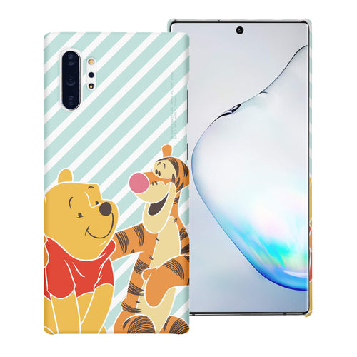 Galaxy Note10 Plus Case (6.8inch) [Slim Fit] Disney Pooh Thin Hard Matte Surface Excellent Grip Cover - Stripe Pooh Tigger