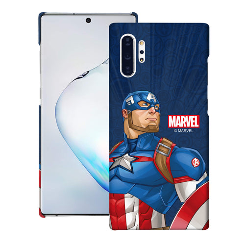 Galaxy Note10 Plus Case (6.8inch) Marvel Avengers [Slim Fit] Thin Hard Matte Surface Excellent Grip Cover - Illustration Captain America