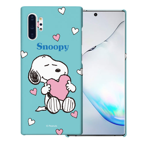 Galaxy Note10 Plus Case (6.8inch) [Slim Fit] PEANUTS Thin Hard Matte Surface Excellent Grip Cover - Snoopy Big Heart Mint