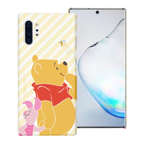 Galaxy Note10 Plus Case (6.8inch) [Slim Fit] Disney Pooh Thin Hard Matte Surface Excellent Grip Cover - Stripe Pooh Bee