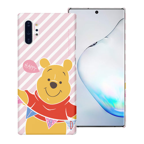 Galaxy Note10 Plus Case (6.8inch) [Slim Fit] Disney Pooh Thin Hard Matte Surface Excellent Grip Cover - Stripe Pooh Happy