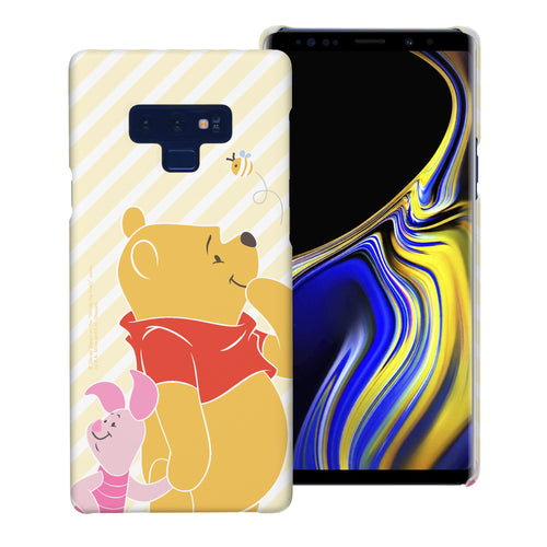 Galaxy Note9 Case [Slim Fit] Disney Pooh Thin Hard Matte Surface Excellent Grip Cover - Stripe Pooh Bee