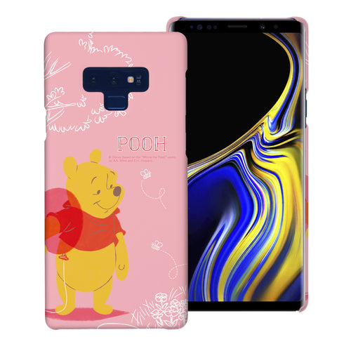Galaxy Note9 Case [Slim Fit] Disney Pooh Thin Hard Matte Surface Excellent Grip Cover - Balloon Pooh Ground