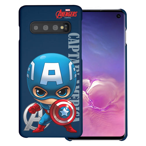 Galaxy S10 Plus Case (6.4inch) Marvel Avengers [Slim Fit] Thin Hard Matte Surface Excellent Grip Cover - Mini Captain America