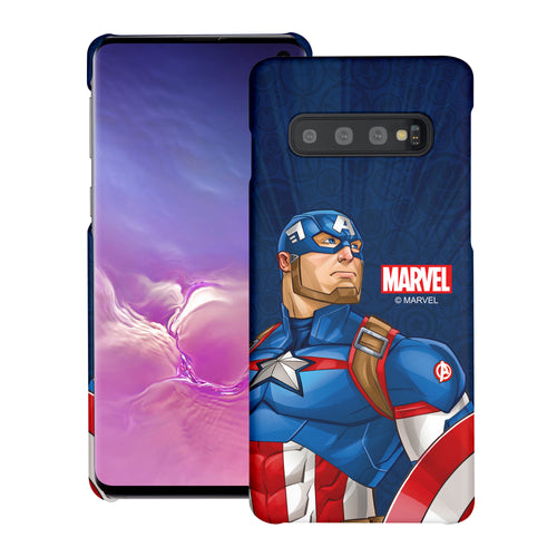 Galaxy S10 Plus Case (6.4inch) Marvel Avengers [Slim Fit] Thin Hard Matte Surface Excellent Grip Cover - Illustration Captain America