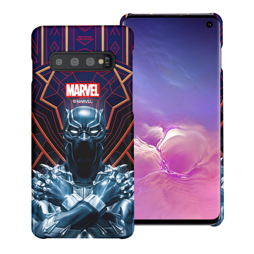 Galaxy S10 Plus Case (6.4inch) Marvel Avengers [Slim Fit] Thin Hard Matte Surface Excellent Grip Cover - Black Panther Face Lines