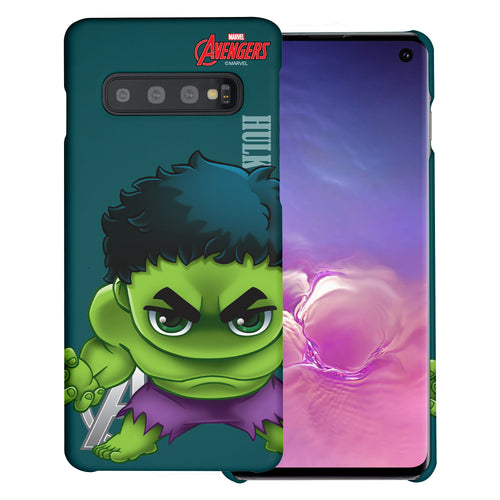 Galaxy S10 Plus Case (6.4inch) Marvel Avengers [Slim Fit] Thin Hard Matte Surface Excellent Grip Cover - Mini Hulk