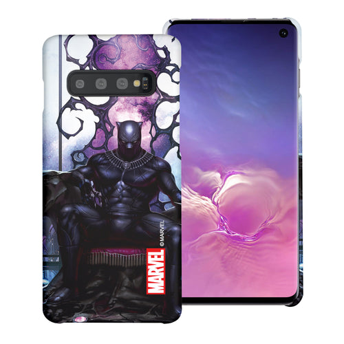 Galaxy S10 5G Case (6.7inch) Marvel Avengers [Slim Fit] Thin Hard Matte Surface Excellent Grip Cover - Black Panther Sit