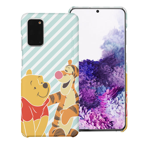 Galaxy S20 Case (6.2inch) [Slim Fit] Disney Pooh Thin Hard Matte Surface Excellent Grip Cover - Stripe Pooh Tigger