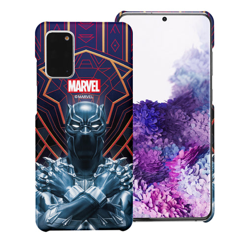 Galaxy Note20 Ultra Case (6.9inch) Marvel Avengers [Slim Fit] Thin Hard Matte Surface Excellent Grip Cover - Black Panther Face Lines