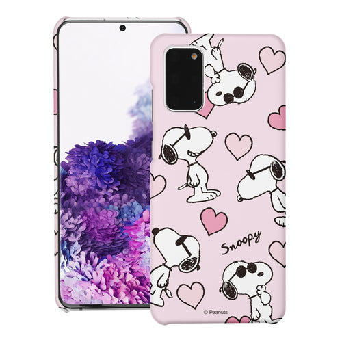 Galaxy S20 Ultra Case (6.9inch) [Slim Fit] PEANUTS Thin Hard Matte Surface Excellent Grip Cover - Snoopy Heart Pattern