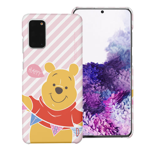 Galaxy Note20 Case (6.7inch) [Slim Fit] Disney Pooh Thin Hard Matte Surface Excellent Grip Cover - Stripe Pooh Happy