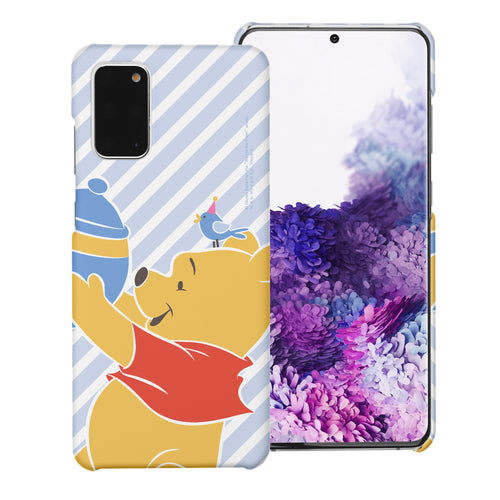 Galaxy Note20 Case (6.7inch) [Slim Fit] Disney Pooh Thin Hard Matte Surface Excellent Grip Cover - Stripe Pooh Bird