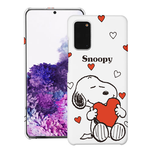 Galaxy S20 Ultra Case (6.9inch) [Slim Fit] PEANUTS Thin Hard Matte Surface Excellent Grip Cover - Snoopy Big Heart White