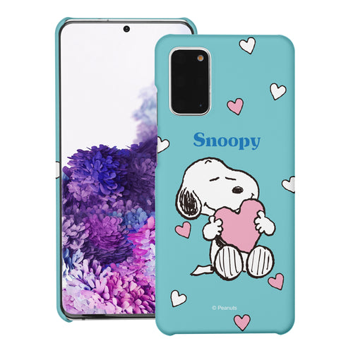 Galaxy S20 Ultra Case (6.9inch) [Slim Fit] PEANUTS Thin Hard Matte Surface Excellent Grip Cover - Snoopy Big Heart Mint