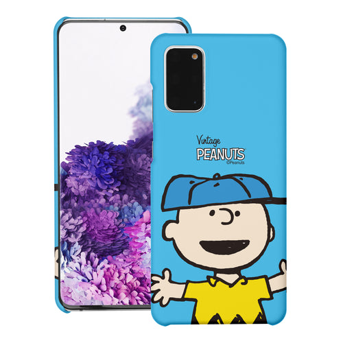 Galaxy S20 Ultra Case (6.9inch) [Slim Fit] PEANUTS Thin Hard Matte Surface Excellent Grip Cover - Face Charlie Brown