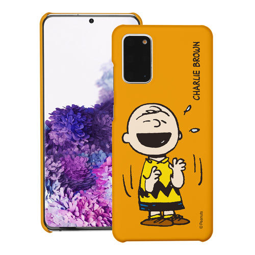 Galaxy S20 Ultra Case (6.9inch) [Slim Fit] PEANUTS Thin Hard Matte Surface Excellent Grip Cover - Smile Charlie Brown