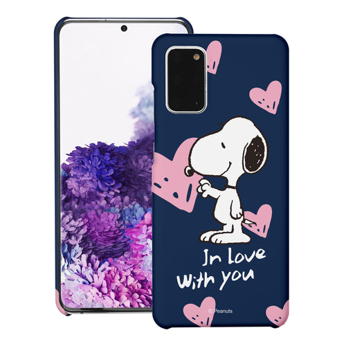 Galaxy S20 Ultra Case (6.9inch) [Slim Fit] PEANUTS Thin Hard Matte Surface Excellent Grip Cover - Snoopy In Love Navy
