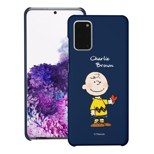 Galaxy S20 Ultra Case (6.9inch) [Slim Fit] PEANUTS Thin Hard Matte Surface Excellent Grip Cover - Charlie Brown Stand Navy