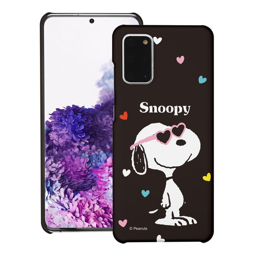 Galaxy S20 Ultra Case (6.9inch) [Slim Fit] PEANUTS Thin Hard Matte Surface Excellent Grip Cover - Snoopy Heart Glasses Black