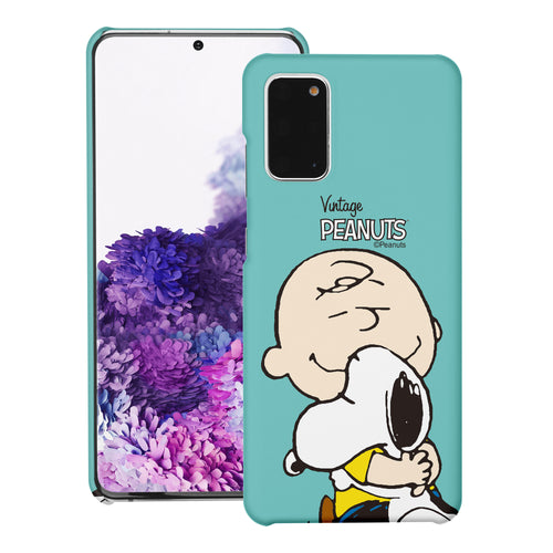 Galaxy S20 Ultra Case (6.9inch) [Slim Fit] PEANUTS Thin Hard Matte Surface Excellent Grip Cover - Face Charlie & Snoopy
