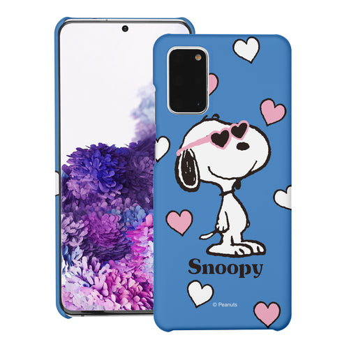 Galaxy S20 Ultra Case (6.9inch) [Slim Fit] PEANUTS Thin Hard Matte Surface Excellent Grip Cover - Snoopy Heart Glasses Blue