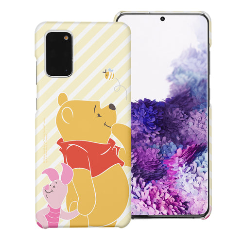 Galaxy S20 Ultra Case (6.9inch) [Slim Fit] Disney Pooh Thin Hard Matte Surface Excellent Grip Cover - Stripe Pooh Bee