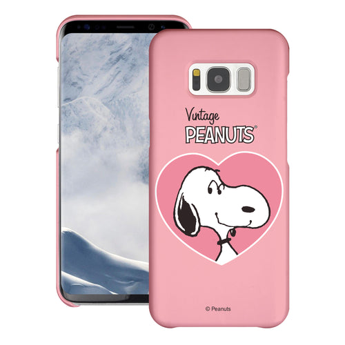 Galaxy S6 Edge Case [Slim Fit] PEANUTS Thin Hard Matte Surface Excellent Grip Cover - Vivid Snoopy Heart