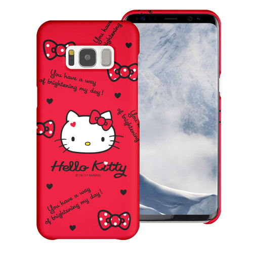 Galaxy S6 Edge Case [Slim Fit] Sanrio Thin Hard Matte Surface Excellent Grip Cover - Icon Hello Kitty