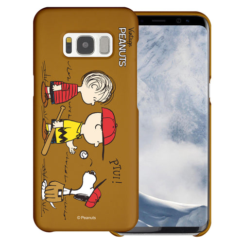 Galaxy S6 Edge Case [Slim Fit] PEANUTS Thin Hard Matte Surface Excellent Grip Cover - Cute Peanuts Baseball
