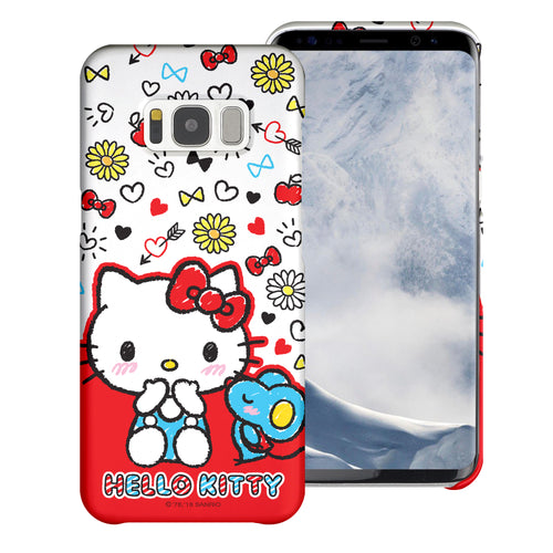 Galaxy S6 Edge Case [Slim Fit] Sanrio Thin Hard Matte Surface Excellent Grip Cover - Kiss Hello Kitty