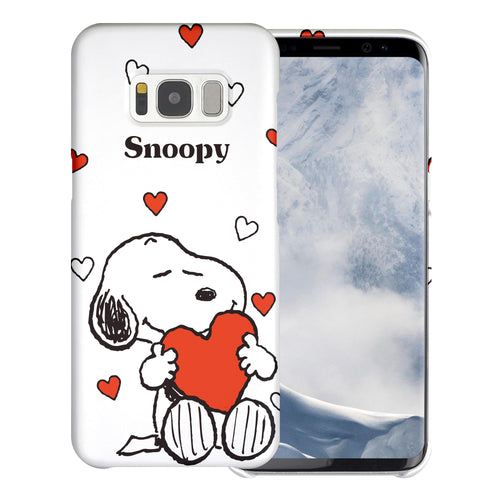 Galaxy S8 Case (5.8inch) [Slim Fit] PEANUTS Thin Hard Matte Surface Excellent Grip Cover - Snoopy Big Heart White