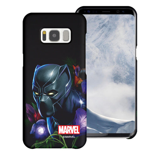 Galaxy S7 Edge Case Marvel Avengers [Slim Fit] Thin Hard Matte Surface Excellent Grip Cover - Black Panther Face Black