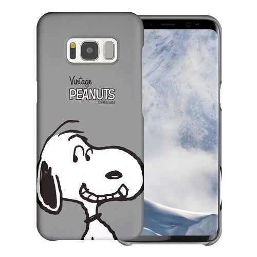 Galaxy S8 Plus Case [Slim Fit] PEANUTS Thin Hard Matte Surface Excellent Grip Cover - Face Snoopy