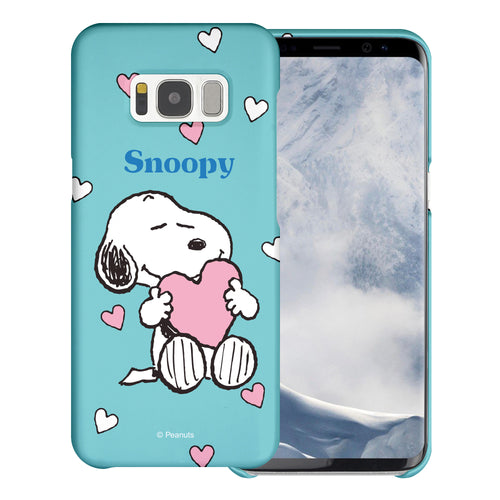 Galaxy S8 Plus Case [Slim Fit] PEANUTS Thin Hard Matte Surface Excellent Grip Cover - Snoopy Big Heart Mint