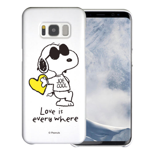 Galaxy S8 Case (5.8inch) [Slim Fit] PEANUTS Thin Hard Matte Surface Excellent Grip Cover - Snoopy Love Yellow