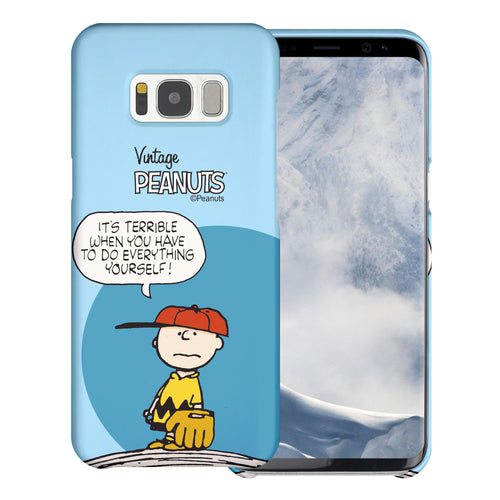 Galaxy S8 Case (5.8inch) [Slim Fit] PEANUTS Thin Hard Matte Surface Excellent Grip Cover - Cartoon Charlie Brown