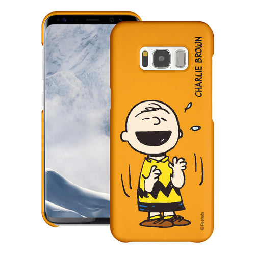 Galaxy S8 Plus Case [Slim Fit] PEANUTS Thin Hard Matte Surface Excellent Grip Cover - Smile Charlie Brown