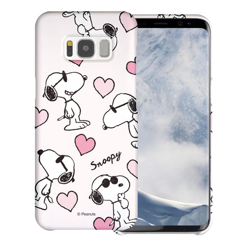 Galaxy S8 Case (5.8inch) [Slim Fit] PEANUTS Thin Hard Matte Surface Excellent Grip Cover - Snoopy Heart Pattern