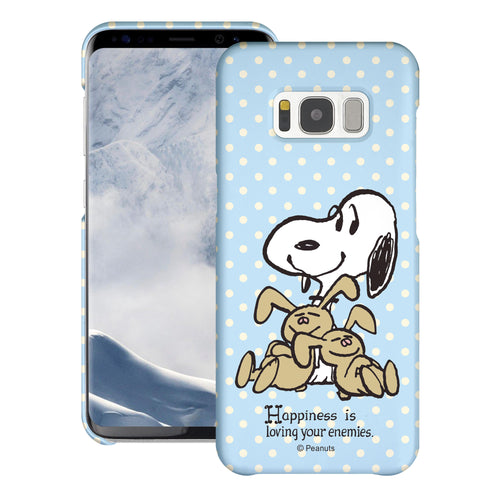 Galaxy S8 Case (5.8inch) [Slim Fit] PEANUTS Thin Hard Matte Surface Excellent Grip Cover - Hug Snoopy Bunnies
