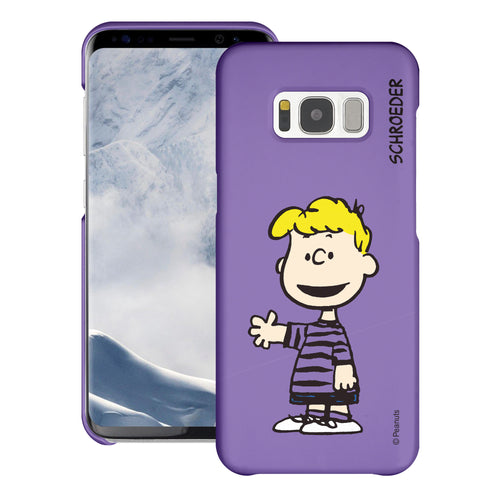 Galaxy S8 Case (5.8inch) [Slim Fit] PEANUTS Thin Hard Matte Surface Excellent Grip Cover - Smile Schroeder