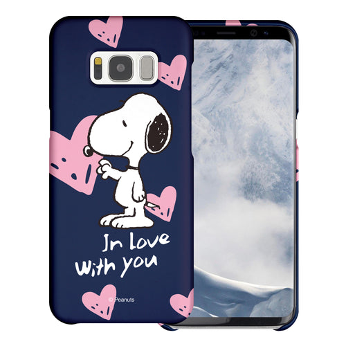 Galaxy Note4 Case [Slim Fit] PEANUTS Thin Hard Matte Surface Excellent Grip Cover - Snoopy In Love Navy